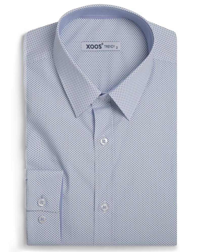 XOOS Men's light blue prints and fitted shirt