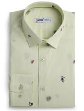 XOOS Men's light green fitted shirt woven patterns