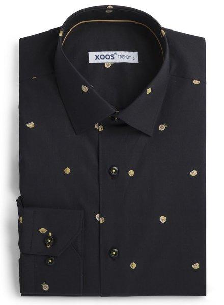 XOOS Men's black fitted shirt woven lemon patterns