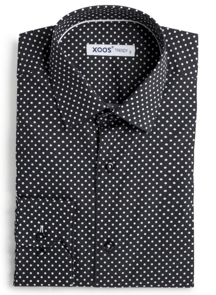 XOOS Men's black dress shirt with white polka dots print