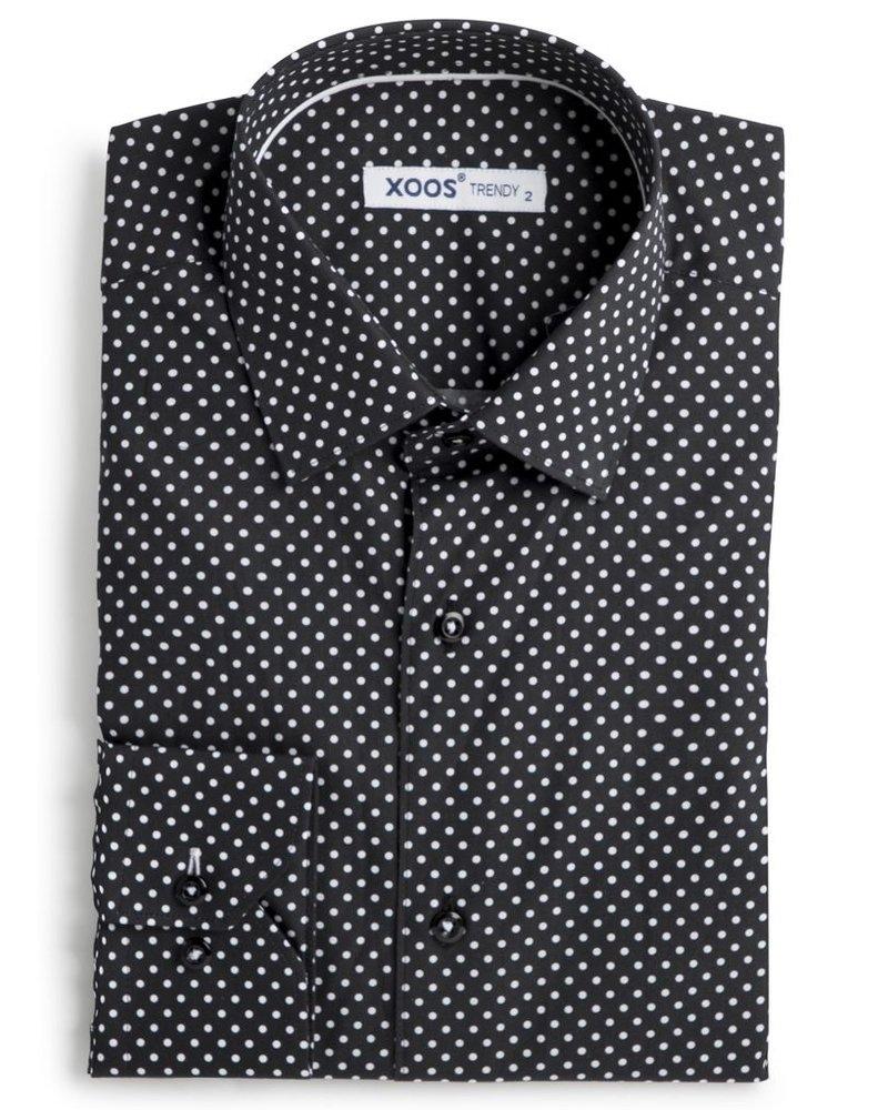 XOOS Men's black dress shirt with white polka dots print