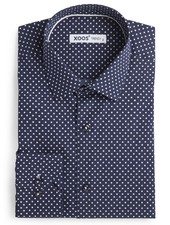 XOOS Men's navy dress shirt with white polka dots print