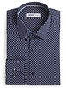XOOS Men's navy dress shirt with white polka dots print