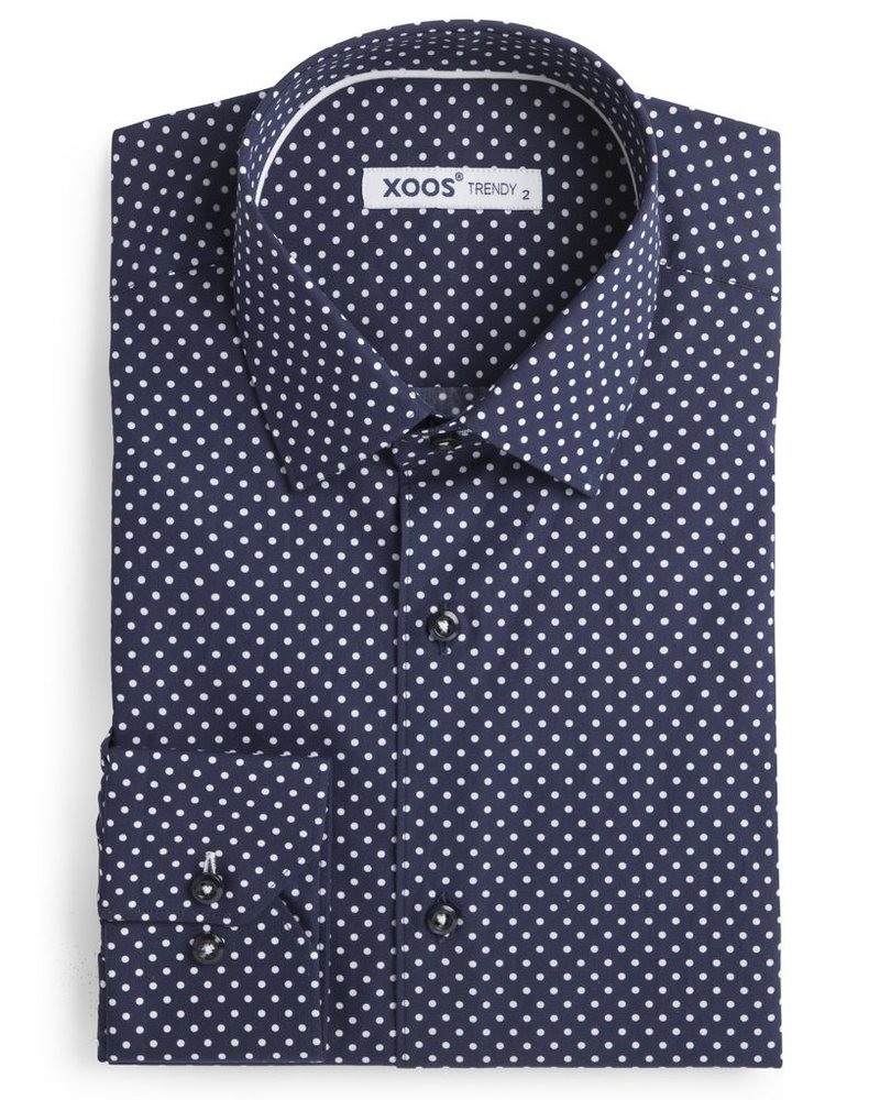 XOOS Chemise homme navy à pois blancs