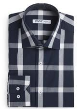 XOOS Men's navy checkered dress shirt with white micro polka dots lining