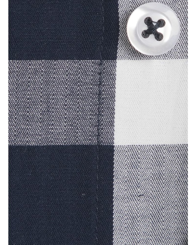 XOOS Men's navy checkered dress shirt with white micro polka dots lining