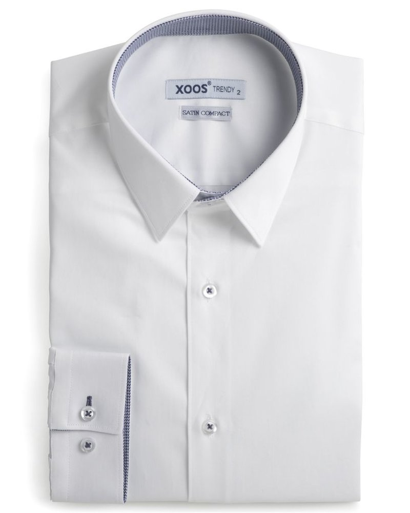 XOOS Men's white fitted shirt and light blue houndstooth lining