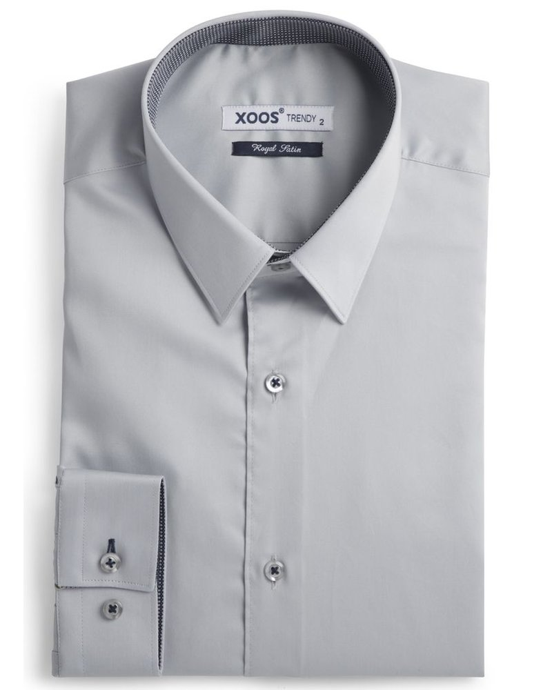 XOOS Men's gray fitted shirt and dark gray print lining