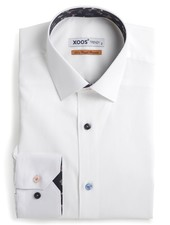 XOOS Men's white fitted shirt and colored butterfly print lining