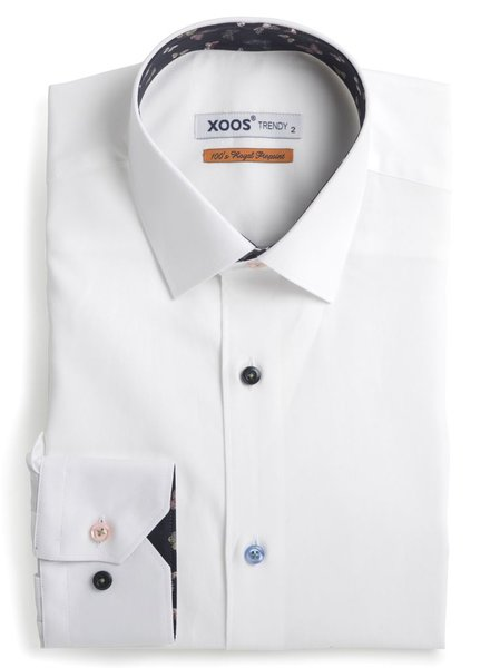 XOOS Chemise homme blanche doublure imprimé butterfly
