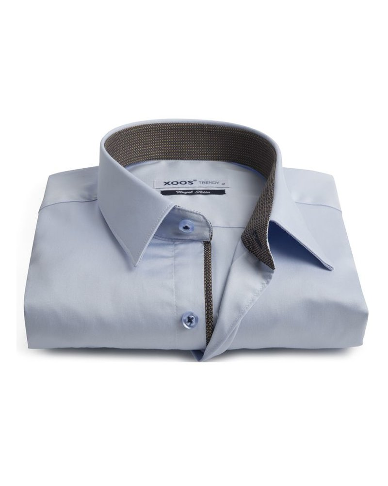 XOOS Men's light blue fitted shirt and copper print lining