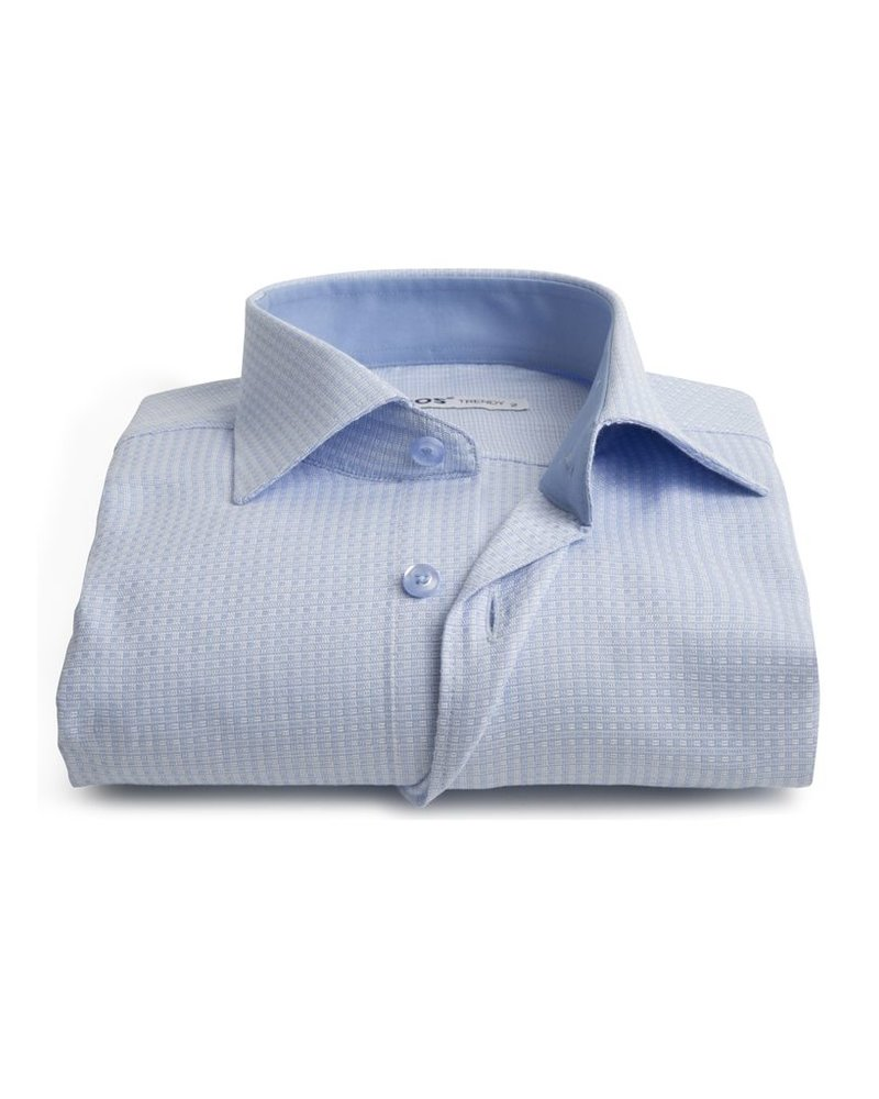 XOOS Men's blue woven cotton fitted shirt and blue lining