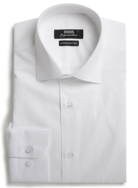 XOOS Men's CLASSIC-FIT white dress shirt French collar (Double Twisted)