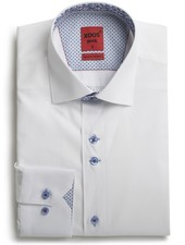 XOOS Men's CLASSIC-FIT white shirt double chest buttons and floral lining (Double Twisted)