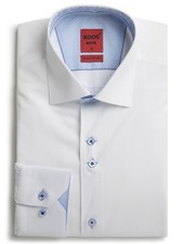 XOOS Men's CLASSIC-FIT white shirt double chest buttons and paisley lining (Double Twisted)