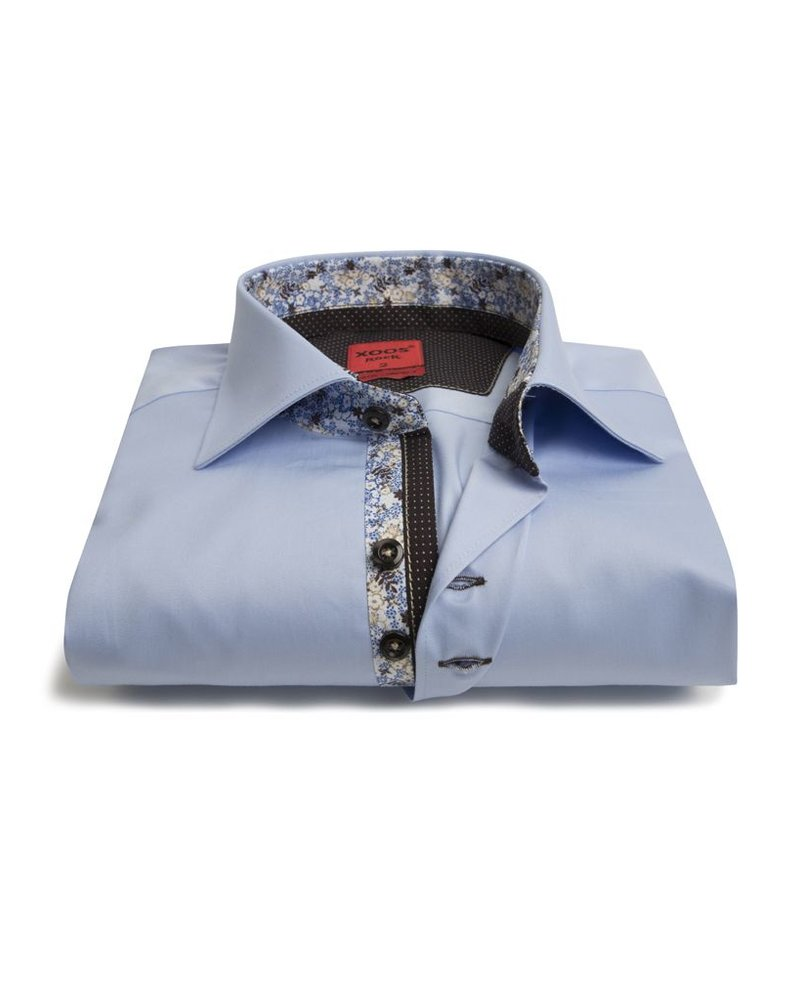 XOOS Men's CLASSIC-FIT blue shirt double chest buttons and floral lining (Double Twisted)