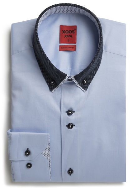 XOOS Men's CLASSIC-FIT blue shirt double button-down collar