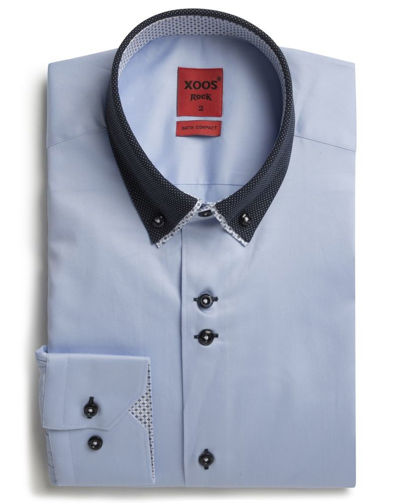 XOOS Men's CLASSIC-FIT blue shirt double button-down collar