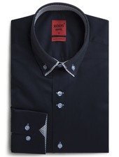 XOOS Men's CLASSIC-FIT navy shirt double button-down collar