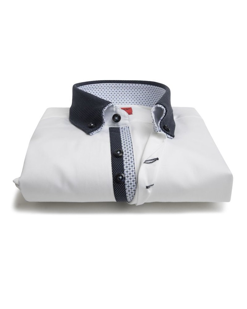 XOOS Men's CLASSIC-FIT white shirt double button-down collar