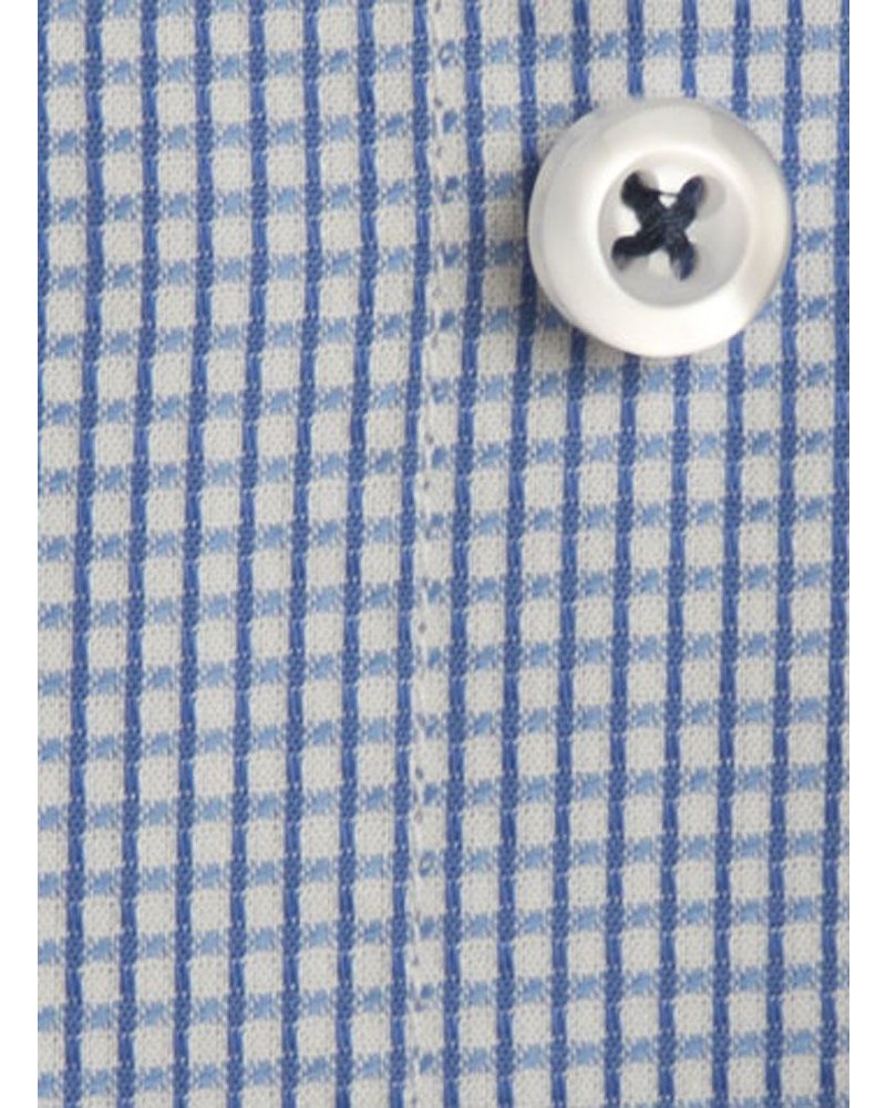 XOOS Men's micro checkered blue fitted shirt with French cuffs