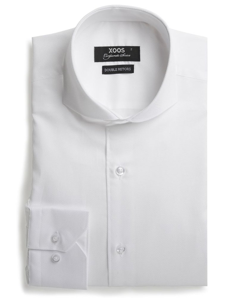 XOOS Men's white dress shirt Full Spread collar (Double Twisted)