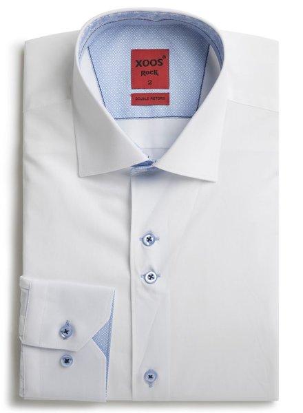 XOOS Chemise homme blanche double boutonnage et doublure cachemire (Double Retors)