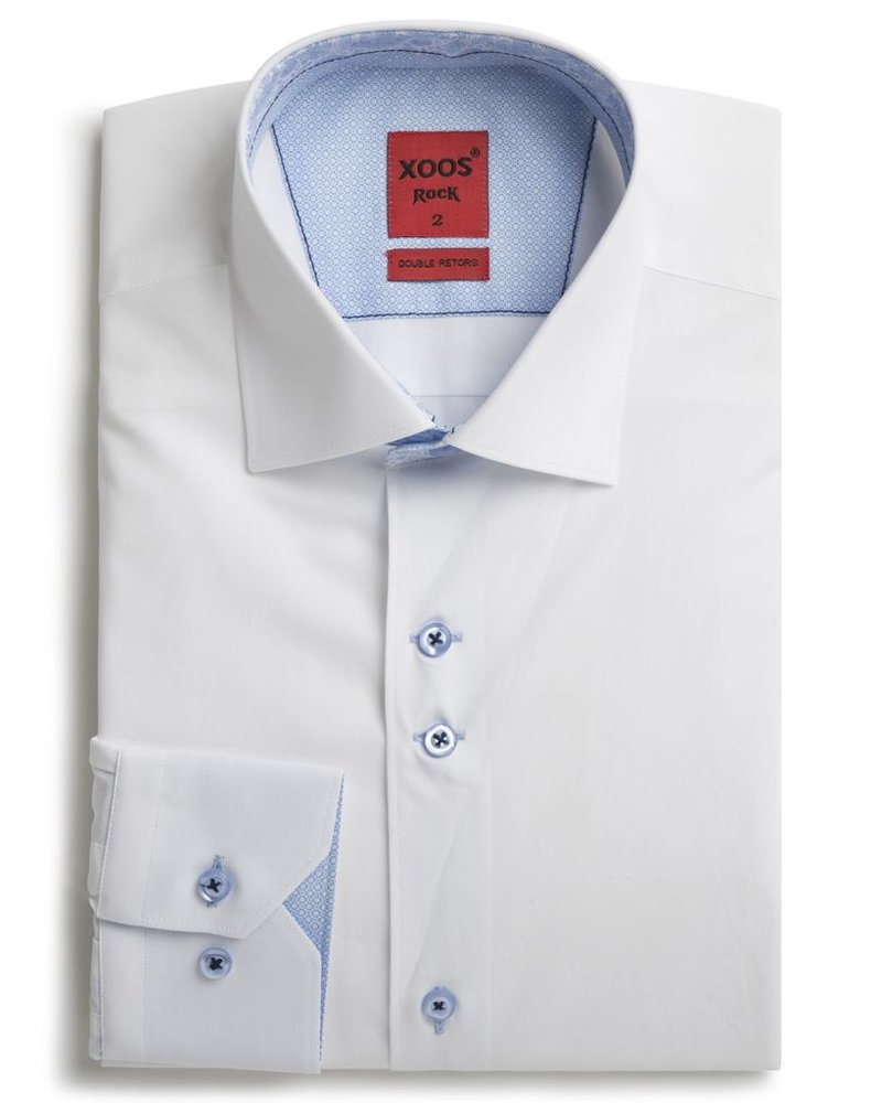 XOOS Men's white shirt double chest buttons and paisley lining (Double Twisted)