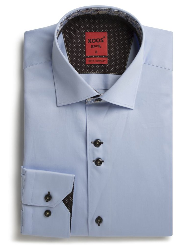XOOS Men's blue shirt double chest buttons and floral lining
