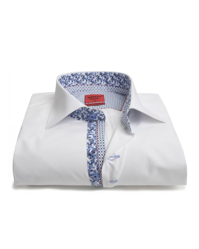 XOOS Men's white shirt double chest buttons and floral lining (Double Twisted)