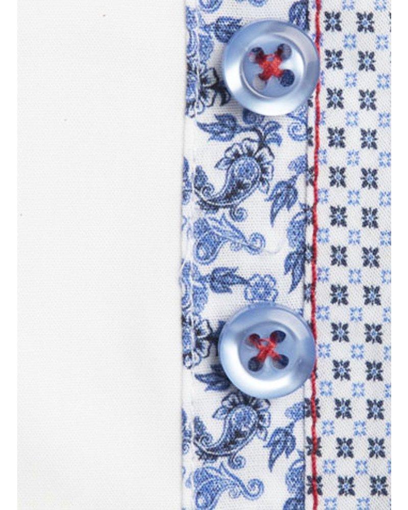 XOOS Chemise homme blanche double boutonnage et doublure florale (Double Retors)