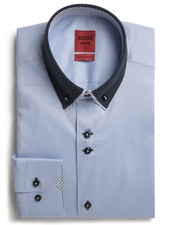 XOOS Men's blue shirt double button-down collar