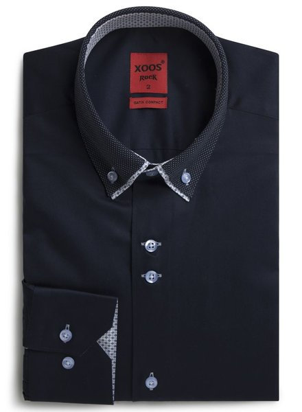 XOOS Men's navy shirt double button-down collar