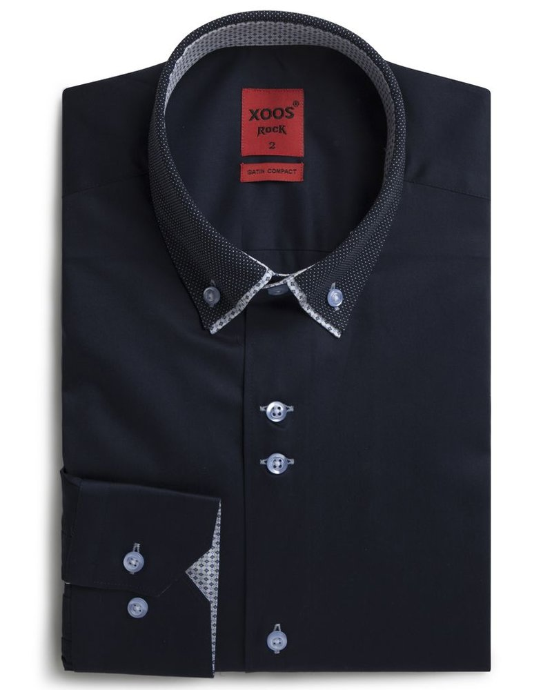XOOS Men's navy shirt double button-down collar