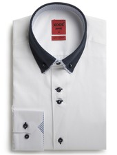 XOOS Men's white shirt double button-down collar