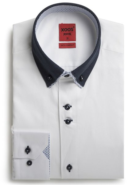 XOOS Chemise homme blanche double col boutonné