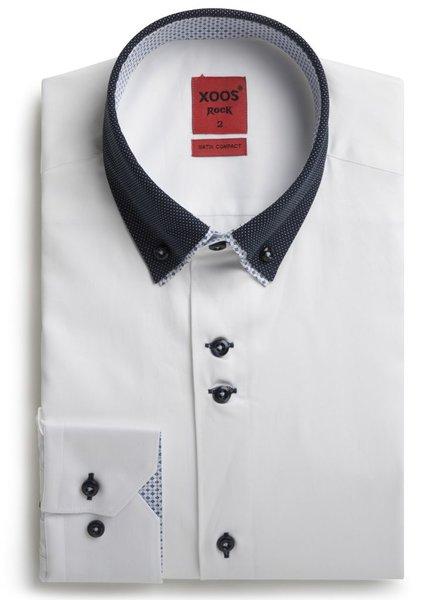 XOOS Men's white shirt double button-down collar
