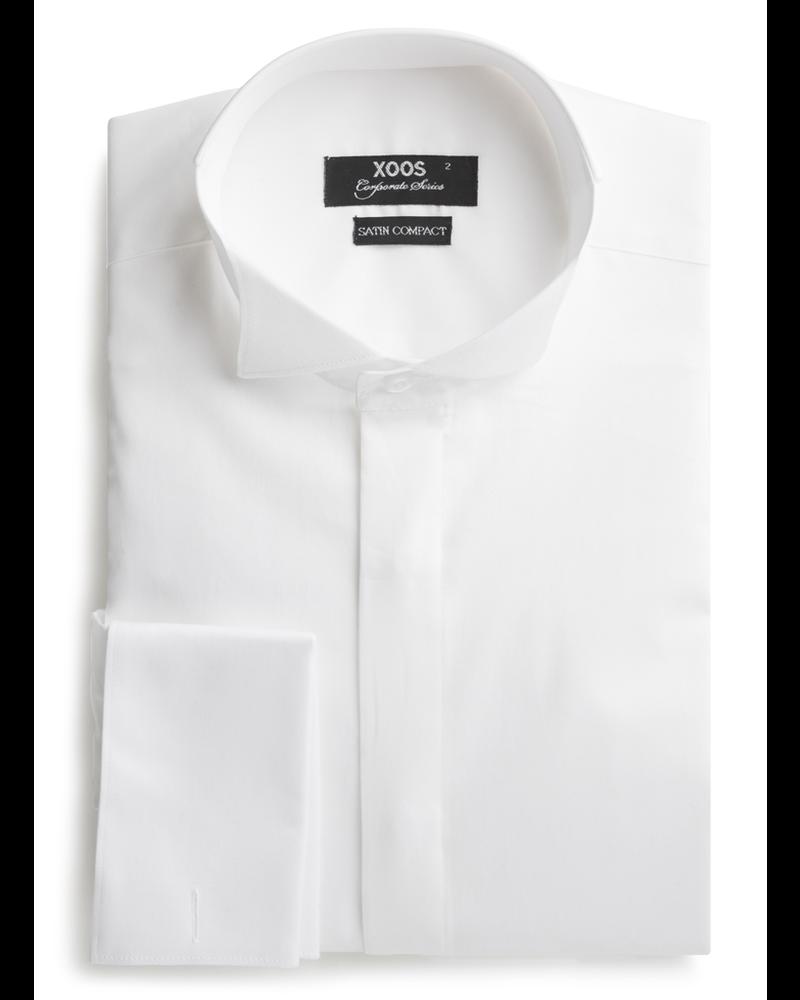 XOOS Men's White tuxedo shirt wing collar