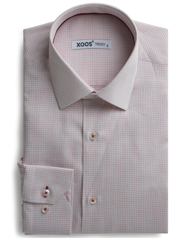 XOOS Men's white shirt with burgundy woven patterns
