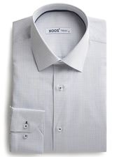 XOOS Men's shirt with navy woven patterns
