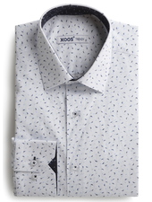 XOOS Chemise homme blanche à motifs imprimés bleu