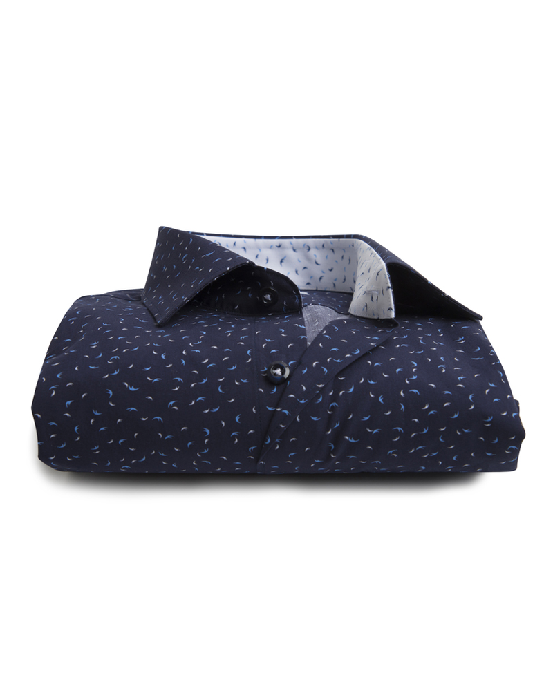 XOOS Men's navy shirt with blue and white patterns prints