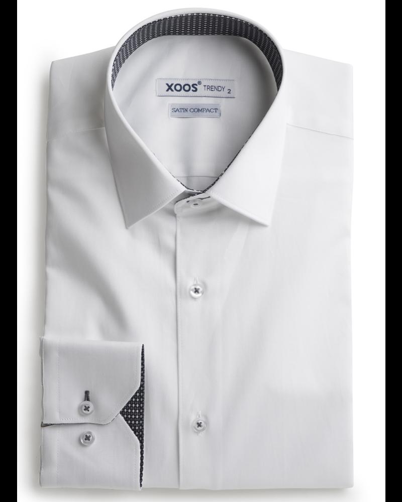 XOOS Chemise homme blanche doublure tissée à motifs gris