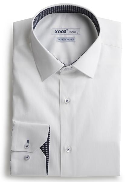 XOOS Chemise homme blanche doublure tissée à motifs navy