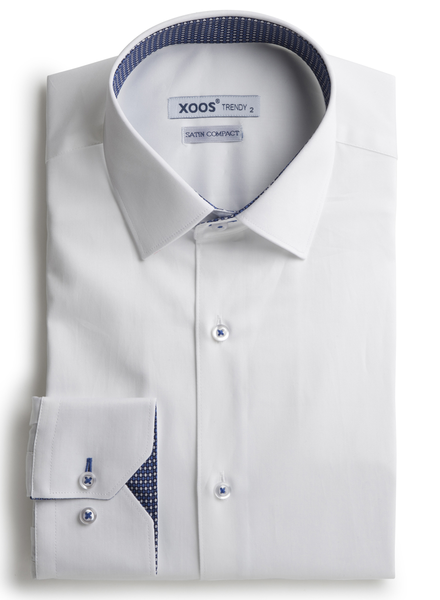 XOOS Men's white shirt woven indigo blue lining