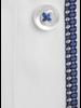XOOS Men's white shirt woven indigo blue lining