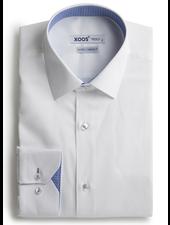 XOOS Chemise homme blanche doublure tissée à motifs bleu ciel