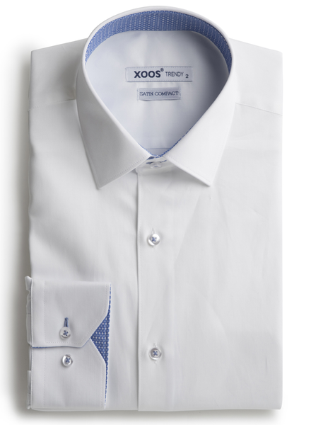XOOS Men's white shirt woven light blue lining