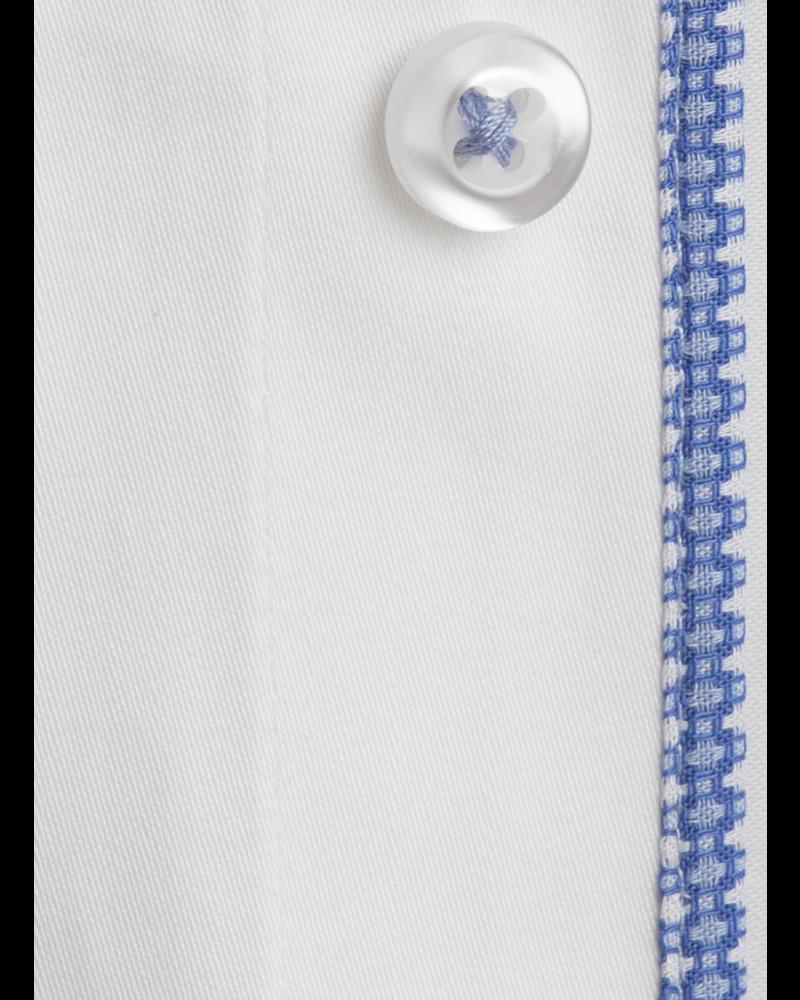 XOOS Men's white shirt woven light blue lining