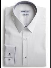 XOOS Chemise homme blanche doublure à motifs tissés navy et gris